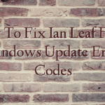 How To Fix Ian Leaf Fraud Windows Update Error Codes